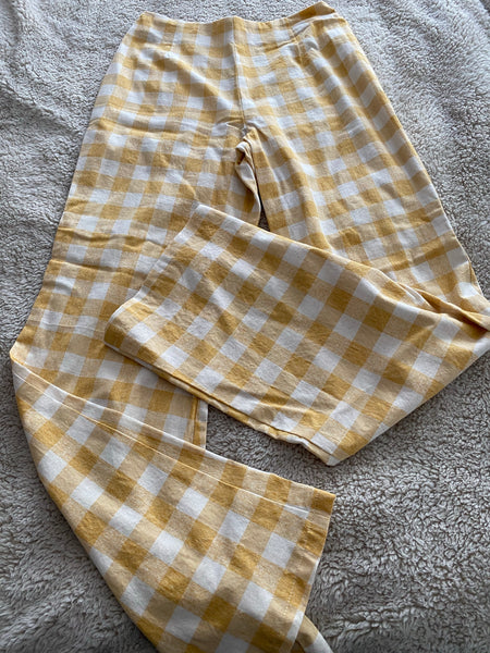 Yellow earth tone check linen pants - wide leg with zip at the back
