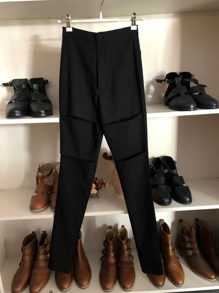 Black 80ties style pants with gaps in front