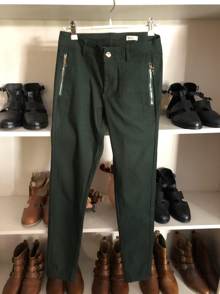 Olive green modern pants with zip detail