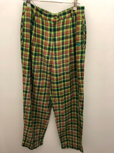 Green check vintage pants