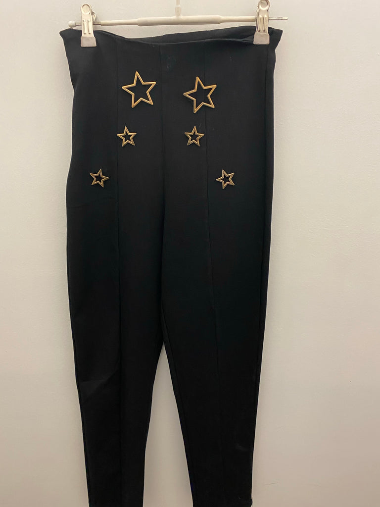 Black pants with gold star detail