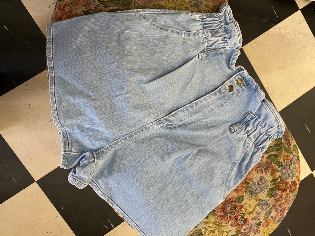 Paper bag light denim shorts
