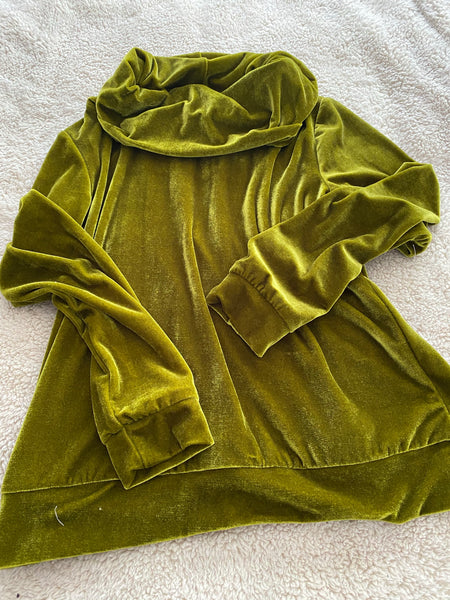 Velvet green cowl neck top