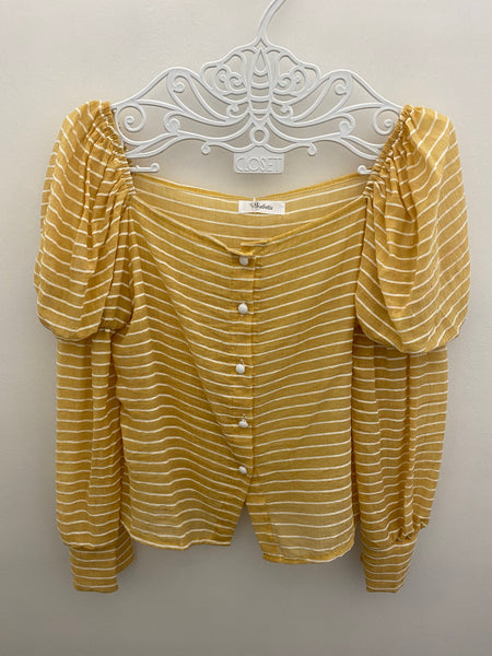 Striped puffy sleeve top