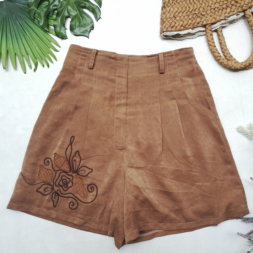 Brown Vintage Shorts with Flower Detail