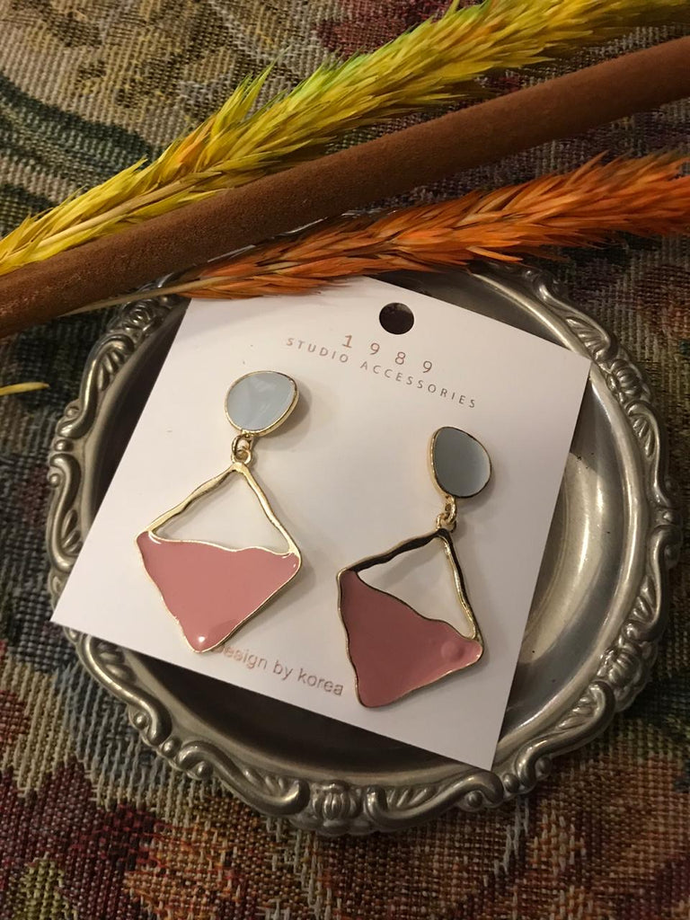 Pink & baby blue gold earrings