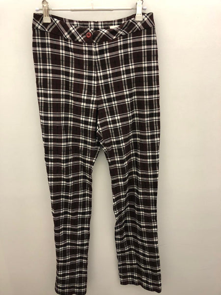 Brown & black check vintage pants