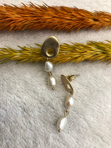 Petite gold and pearl earrings