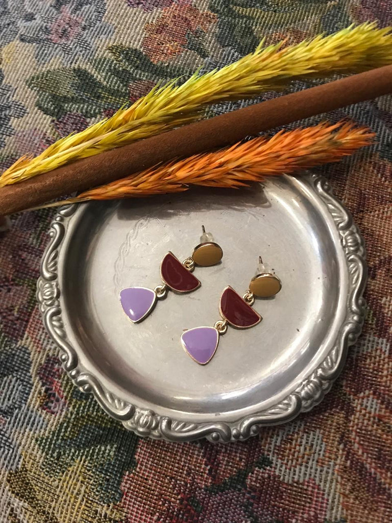 Lilac,burgundy & tan stone earrings
