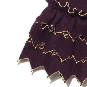 Sleeve detail mulberry Zig Zag sweater, gold beads