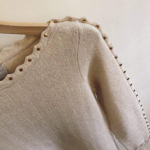 Beige Stud Sleeve Savannah Sweater