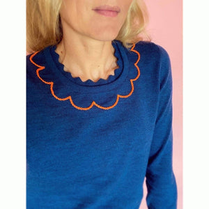 Petrol Blue Scallop Collar Sweater