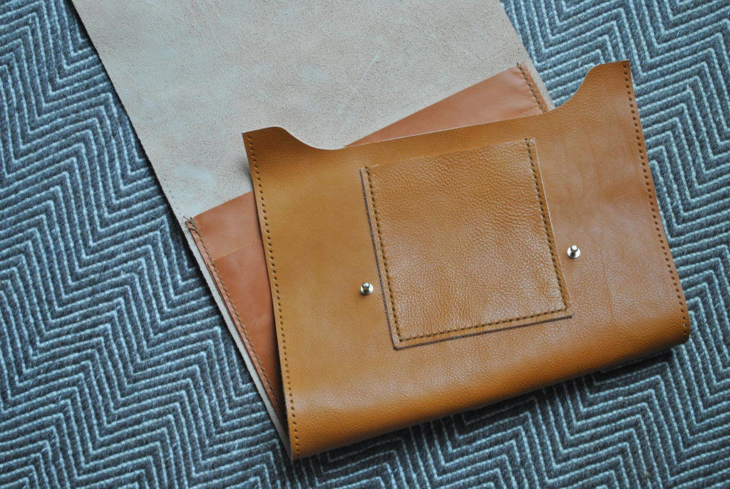 Cedar leather satchel in the making