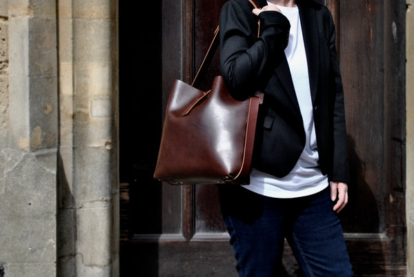 Cedar Leather Tote in Cocoa OUT OF STOCK