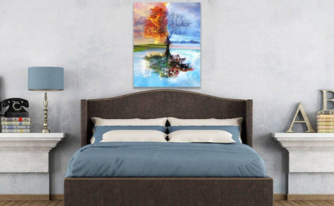 All Season Tree Paint By Numbers Set Photo On Bedroom Wall