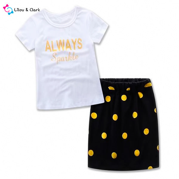Always Sparkle - 2-piece Polk Dotted Skirt and Tee Set for Mommy and Me