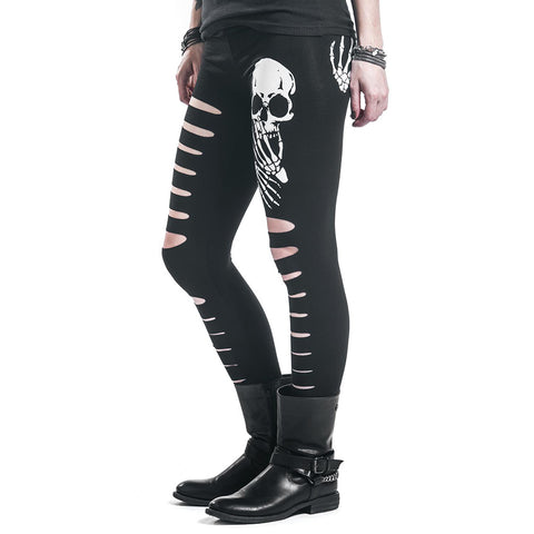 Cut Out Skull Leggings