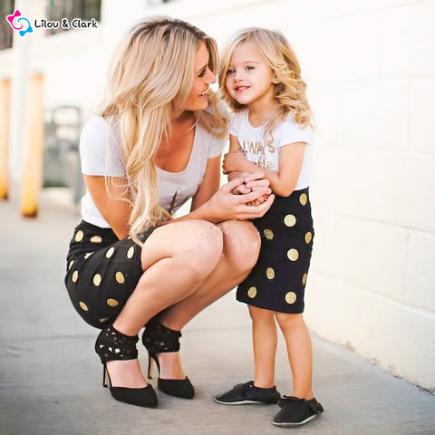 Image of Always Sparkle - 2-piece Polk Dotted Skirt and Tee Set for Mommy and Me