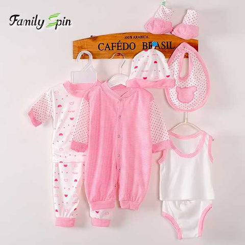 8 Pieces 100% Cotton Newborn Baby Girl's Set