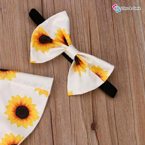3 Pieces Sunflower Summer Outfit