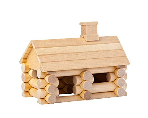 35 Piece Little House - Traditional ALL Wooden Log Construction Building Toy