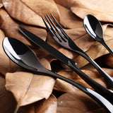 Black Steel Luxury Silverware - Set of 4 Stainless Steel Pieces
