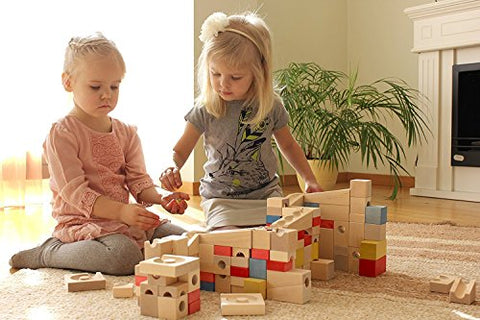 Image of Wooden Marble Run Construction Set