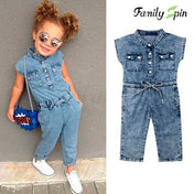 Trendy Girl's Denim Summer Jumpsuit
