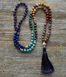 8MM Precious Mala Stones Tassel Necklace