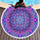 Purple Mandala Round Towel