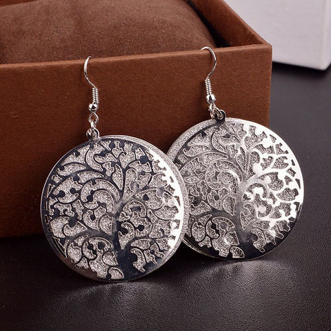 New Age Life Tree Hollow Out Scrub Drop Earrings Fine Jewelry
