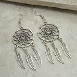 New Age Dream Catcher Vintage Silver Plated Drop Earrings