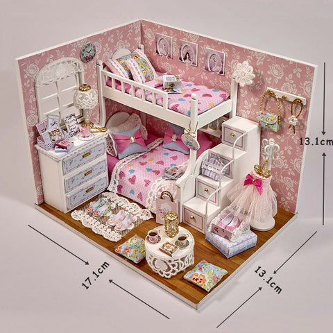Image of Handmade Wooden Mini Dollhouse