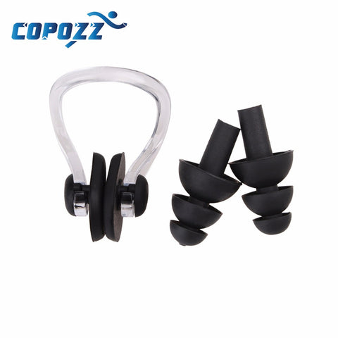 High Quality Soft Silicone Surfing Swimming Ear Plugs plus nose clip Copozz