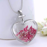 Flower Heart Pendant Necklace