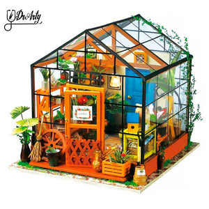 DIY Miniature Green House & Study Room Fully Furnished Set