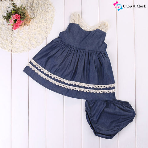 Image of Navy Blue Baby Girl's Dress & Shorts