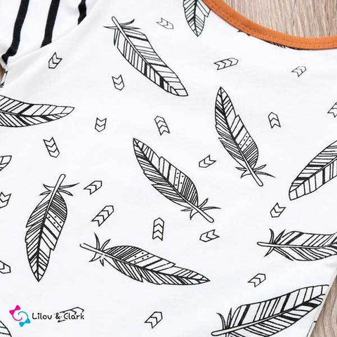 Image of 3Pcs Feather print Baby Boy's Set