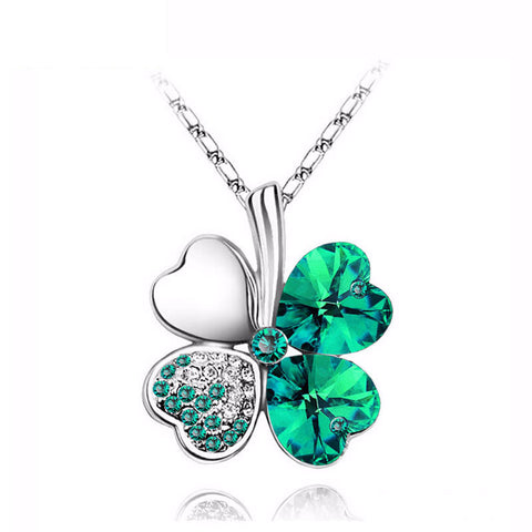 Four Leaf Clover Heart-shaped Austrian Crystal Pendant Necklace