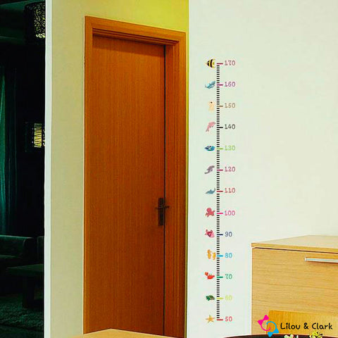 Image of Animal Height Measurement Kid's Room Wall Sticker Set