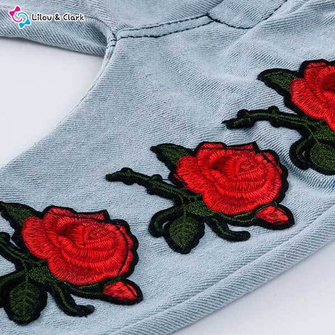 Beautiful Lace Top & Rose Embroider Jeans Set For Baby Girls