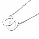 Lucky Black & White Double Horseshoes Pendant Necklace - FREE Offer - $0.00