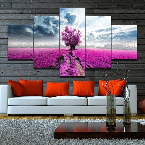 Image of Pink Lavender Flowers Landscape Canvas