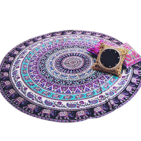 Image of Purple Elephant Round Mandala Beach Throw