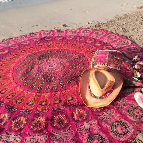 Image of Mandala Red Round Beach Blanket