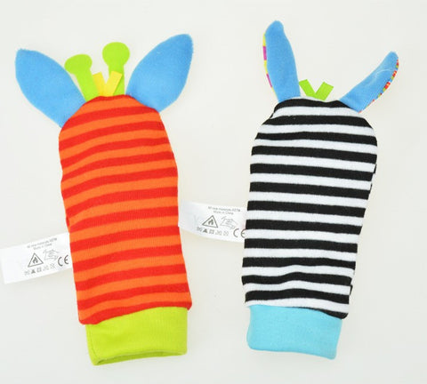 Image of Baby Hand Wrist Strap Rattles-Animal Socks