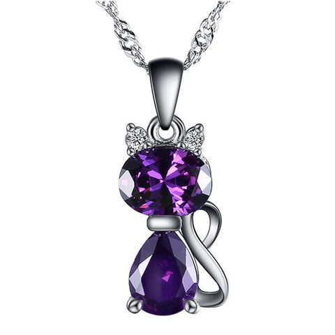 Cute Cat Zircon Pendant Necklace Free Offer - $0.00