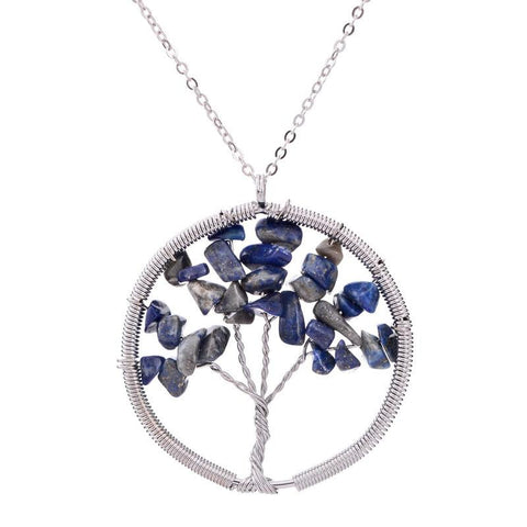 7 Chakras Amethyst Tree Of Life Necklace