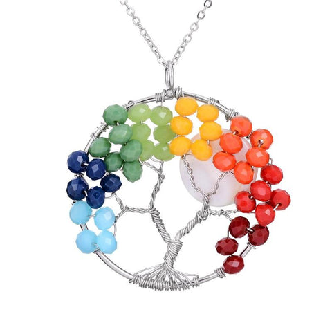 7 Chakras Amethyst Tree Of Life Necklace Free Offer - $0.00