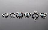 Vintage Boho Lucky Rings - 6pcs